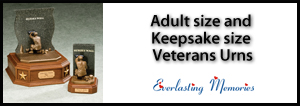 Veterans urns and keepsake urns